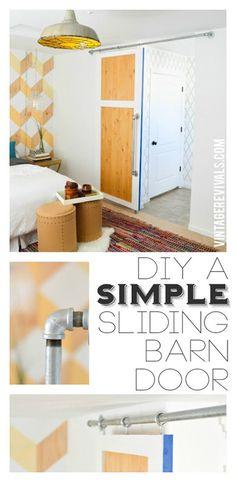 Another simple tutorial for DIY sliding door    DIY Simple Sliding Barn Door @ Vintage Revivals