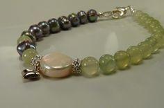 So Romantic - Jade & Pearl Bracelet with Sterling Silver Heart by ksyardbird, $23.00