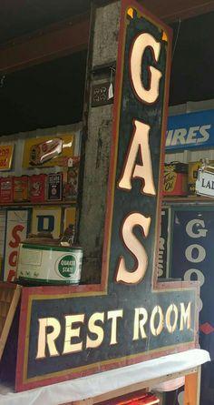 RARE Original Milk Glass Lettered GAS / Restroom Sign!