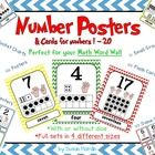 Number Posters feature the numbers 1 - 20 with ten frame, counting hands, and dice.  4 different sizes to choose from.  $