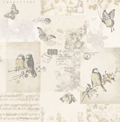 Songbird (11261) - Albany Wallpapers - A romantic shabby chic patchwork design with Songbirds, music sheets and butterflies. Shown here in sepia - more colours are available. Please request a sample for true colour match.