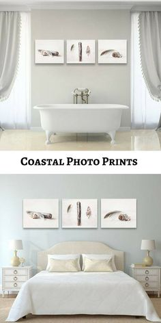 #Etsy | A collection of minimalist beach themes prints in fresh white and rustic brown tones. This set is lovely for a coastal living room, bedroom or bathroom! Collective #ad #coastaldecor #homedecor #neutral #beach
