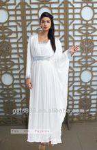 Yun Xia Brand new 2014 white kaftan middle east kaftan muslim abaya in dubai islamic clothing for women muslim dress YX049(China (Mainland))