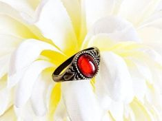 Ruby red stone ring, solitaire size vintage style bohemian, birthstone jewelry, unique gift for her July birthday, graduation gift girl by PRKJewelry on Etsy Cameo Ring, Cameo Jewelry, Etsy Jewelry, Earrings Handmade, Handmade Jewelry, Unique Jewelry, Etsy Handmade, Handmade Gifts, Vintage Style Rings