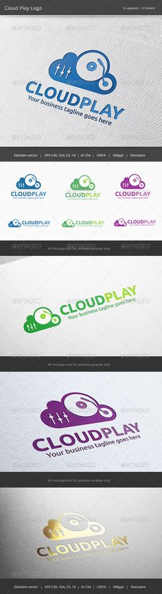 Cloud Music Player Logo — Vector EPS #sound #server • Available here → https://graphicriver.net/item/cloud-music-player-logo/6322320?ref=pxcr