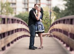 Cute engagement photo on a bridge