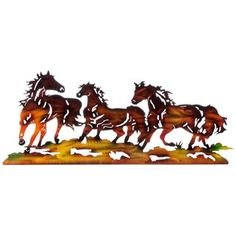 "Don't be dragged away by those wild horses--add a montage to them to your home or office decor. With a shimmery marbled brown sheen, Brown Three Horses Metal Wall Decor features three running horses. Give your home or office a touch of the outdoors, country, and freedom.    	     	Dimensions:    	  		Length: 12""  	  		Width: 24""      	     	Hanging hardware is not included."