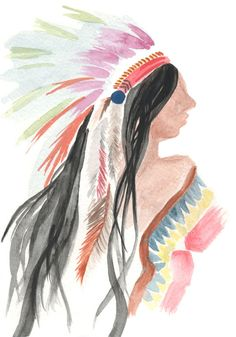 """Shikoba"" Native American Watercolor Print by Kati Ramer"