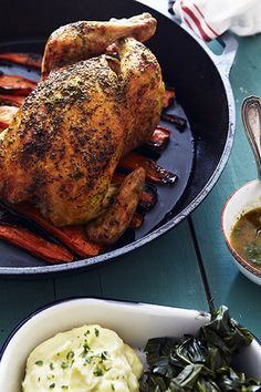 Marcus Samuelsson's recipe for Roast Chicken calls for brining the bird in orange juice and using classic Indian spices for a golden rub. #recipe
