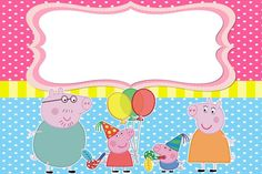 We are having a baby girl! Peppa Pig Invitations, 60th Birthday Invitations, Unicorn Invitations, Pep Pig, 2nd Birthday Party Themes, Pig Birthday, George Pig, Pig Party, Tent Cards
