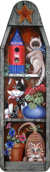 free images to paint on old ironing boards | The Decorative Painting Store: Garden Cats Ironing Board, Sharon Chinn