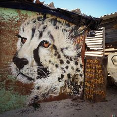African endangered species street art by Masai2
