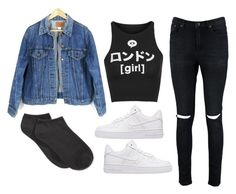 """""""Sin título #718"""" by ariannastradlin ❤ liked on Polyvore featuring Boohoo, Illustrated People, Levi's, NIKE and Spectrum"""