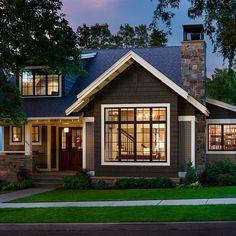 Craftsman Home Exterior, Craftsman Style Homes, Craftsman Bungalows, Modern Craftsman, Craftsman Home Plans, Craftsman Windows, Colonial Exterior, Garage Exterior, Exterior Homes