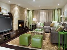 Living room w/ green accents.
