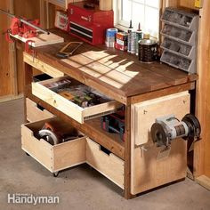 Like this workbench. Upgrade any workbench with these DIY enhancements. 7 simple projects enhance functionality and increase the storage capacity of your workbench. Most can be built in a day; some in less than 15 minutes! Garage Tools, Garage Shop, Diy Garage, Garage Office, Garage Exterior, Small Garage, Workshop Storage, Garage Workshop, Workshop Ideas