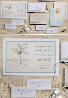 Hand Painted Beach Wedding Invitation Suite
