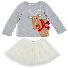 98df559629164 Heathered gray cotton interlock top with keyhole back features jersey  reindeer applique with dimensional ears and scarf, gold sweater antlers and  sequin ...