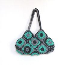 Turquoise flower crochet handbag, knitting bag, shoulder bag, purse