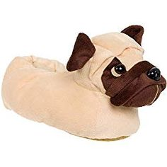 b4796b49f9e8 Animal Slippers - Plush Pug Dog Slippers for kids by Silver Lilly (Light  Brown)
