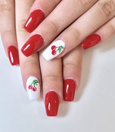 Long Coffin Nails with retro looking cherries nail art . Cherry Nail Art, Fruit Nail Art, Red Acrylic Nails, Summer Acrylic Nails, Acrylic Nail Designs, Fruit Nail Designs, Fire Nails, Minimalist Nails, Dream Nails