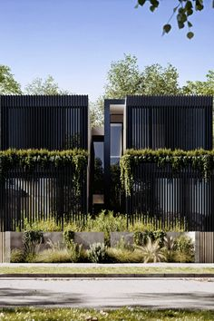 A concept of twin homes, designed by Arkhaus studio in Australia. By combining wood, simplicity & landscape, the result is a modern and environmentally friendly design. Duplex Design, Townhouse Designs, Design Moderne, Architecture Visualization, Facade Architecture, 3d Architectural Rendering, Modern Villa Design, Casa Patio, Exterior Cladding