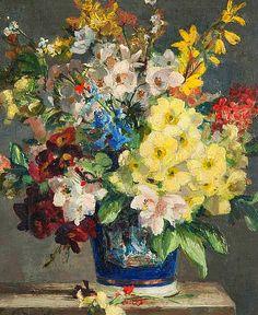 Stuart Scott Somerville Summer Flowers in a Vase ... - still life quick heart