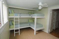 Bunk Room sleeps four children or two adults. Top bunks not suited for adults. Triple Bunk Beds, Bunk Beds Built In, Kids Bunk Beds, Corner Bunk Beds, Four Bunk Beds, L Shaped Bunk Beds, Adult Bunk Beds, Bunkbeds For Small Room, Bunk Bed Ideas For Small Rooms