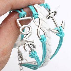 Plating silver anchor multilayer bracelet M711 LOVE 8 word