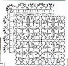 . Crochet Table Runner Pattern, Crochet Coaster Pattern, Crochet Blocks, Crochet Borders, Crochet Tablecloth, Crochet Diagram, Afghan Crochet Patterns, Crochet Squares, Crochet Motif
