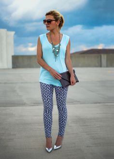 printed legging skimmer jeans by Gap  I don't like the clutch, necklace and shoe combo, they don't match or compliment each other