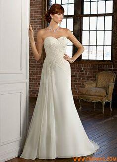 simples namorada do assoalho-comprimento vestido de noiva marfim de chiffon 2013