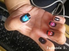 Pac-Man Ghost Nails. I really wish either Pac-Man or Mrs. Pac-Man (preferably Mrs. Pac-Man, and perhaps with one of the white or blue dots, possibly in the process of being eaten) was on the thumb. <3
