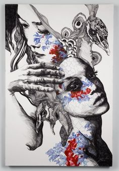 Gabriel Moreno. Painter from Madrid. Zentangles. Pattern making. Double exposure. Multiple layers. Opacity.