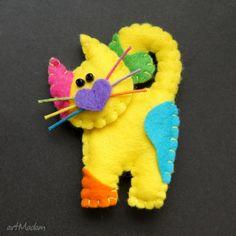 Marcowy kotek broszki tinyart filc lekki kot zabawny