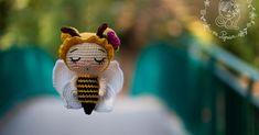Papillon en papier: Little honey bee - free amigurumi pattern Crochet Bee, Crochet Baby Toys, Crochet Animals, Crochet Dolls, Free Crochet, Amigurumi Patterns, Doll Patterns, Crochet Patterns, Old Fashioned Cherries