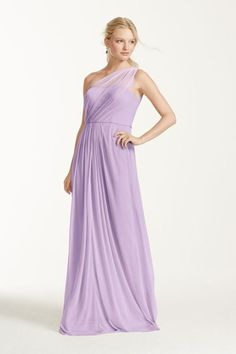 Long Mesh Bridesmaid Dress with One Shoulder Neckline Style F15928, Iris, 14