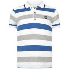 Timberland Boys Blue & Grey Striped Polo Top