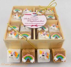 Zucker - Zucker Würfel dekoriert mit Einhorn Regenbogen - ein Designerstück von Zuckerschaetze bei DaWanda