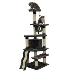 This large cat tree is very sturdy and will give your cat lots of area to play. Great for any cat, but especially those cats who are declawed or can't climb well will enjoy having the great outdoors in your home.