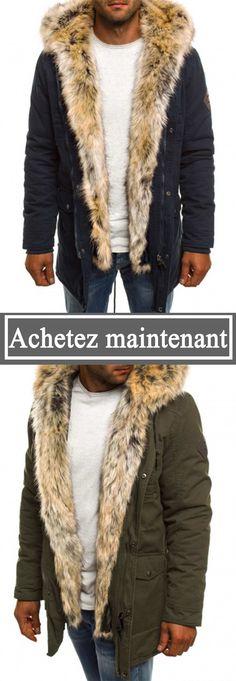 Manteau Homme Hiver Parka à Capuche Grosse Fourrure Synthétique Chaud  -22€  dès 109 903d7df8f97b