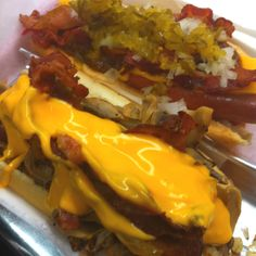 Pink's hotdogs. Because the best way to make a hotdog even better is to top it with bacon and smother it with cheese!