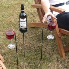 Wine bottle and wine glass holders for the yard
