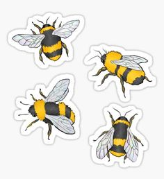 Because of the frankly ridiculous (and amazing) number of people who have purchased this design as a sticker, I have made each individual bee as its own sticker design, in case you want a bigger version of all four, or prefer one lone bee! Bubble Stickers, Diy Stickers, Printable Stickers, Laptop Stickers, Sticker Ideas, Journal Stickers, Aesthetic Stickers, Blue Butterfly, Planner Stickers