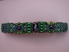 Barrette in Purple and Green Macrame Beading Hair by glassdancer.