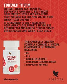 Worried about weariness and exhaustion crippling your motivation? 😪 That's what Forever Therm is for! Made with a mixture of and Vitamin C, this brilliant supplement will help you slide through your weight loss journey! Fibromyalgia Supplements, Supplements For Anxiety, Anti Aging Supplements, Supplements For Women, Protein Supplements, Natural Supplements, Nutritional Supplements, Forever Living Clean 9, Forever Living Business