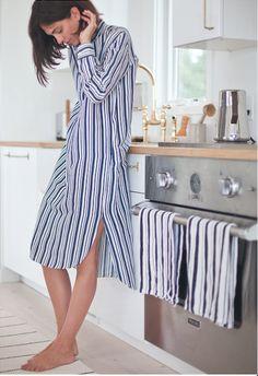 APIECE APART WOMAN, ELISA RESTREPO wearing our Samara Shirt Dress in stripe.