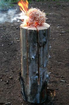 Embers from the kindling you place atop the log will fall into the cuts you made and ignite the inside of the log.