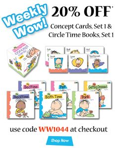 Get 20% off* Concept Cards and Circle Time Books (set 1) through June 25. Use code WW1044 at checkout.