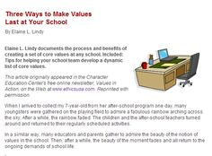 3 Ways to Make Values Last at Your School, by Whootie Owl founder Elaine Lindy.  Published by Education World